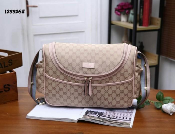 71fb238c082bc8 Jual HIgh Premium Gucci GG Canvas Diaper Bag 123326 - Apricot Pink ...