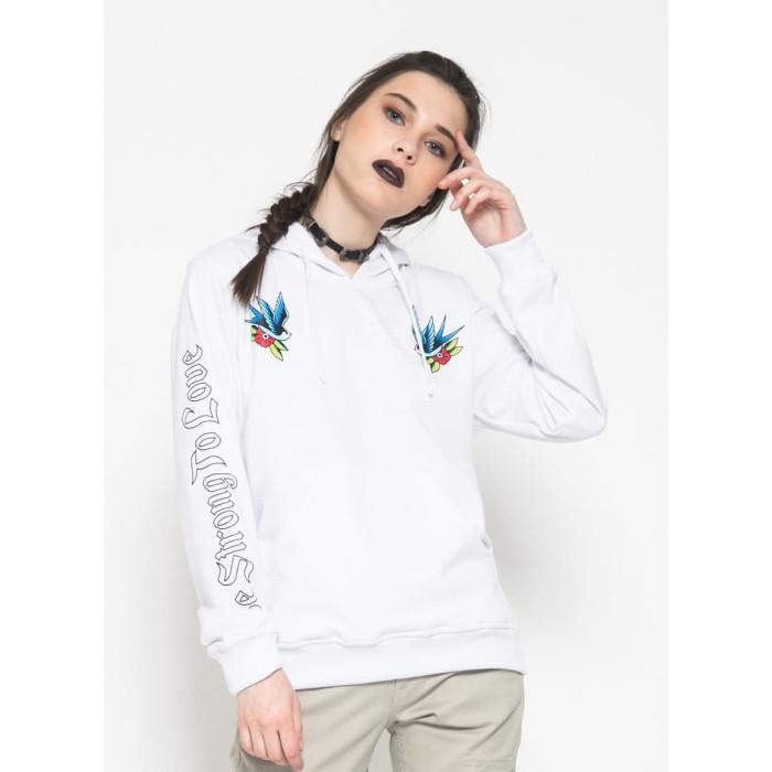 Anye -  dagger & rose  sweater hoodie putih - putih m