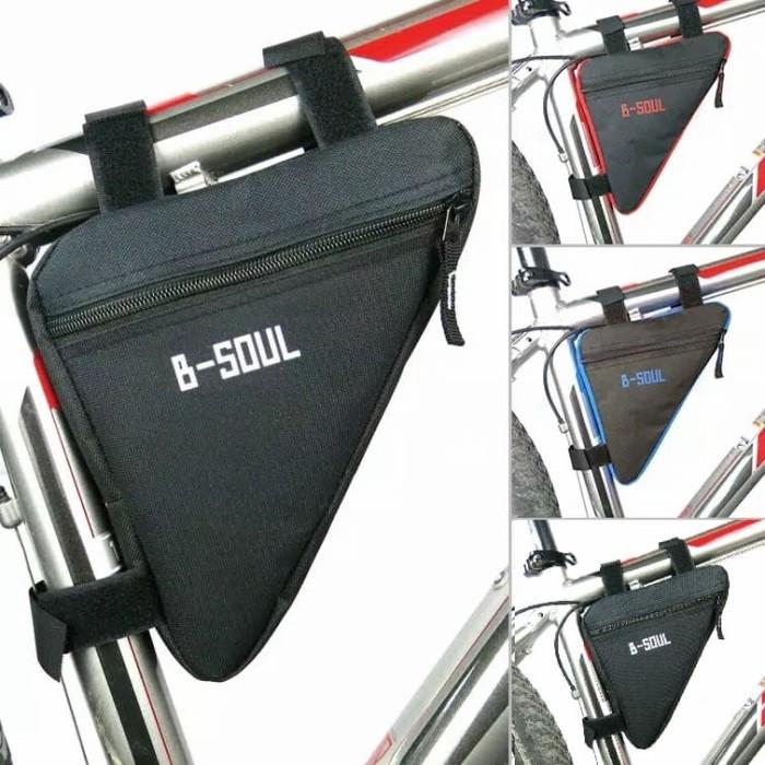 Foto Produk Tas Sepeda B-SOUL Segitiga / Frame Bag Bike B-SOUL / Tas Sepeda Import - Hitam dari Uppala Shop