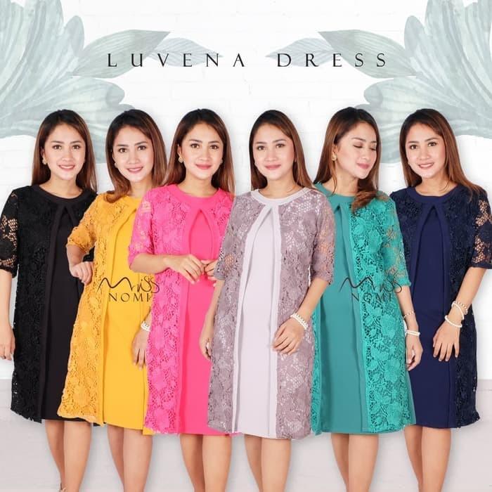 Jual Luvena Dress Pesta Brokat Pendek Bodycon Wanita Import Gaun