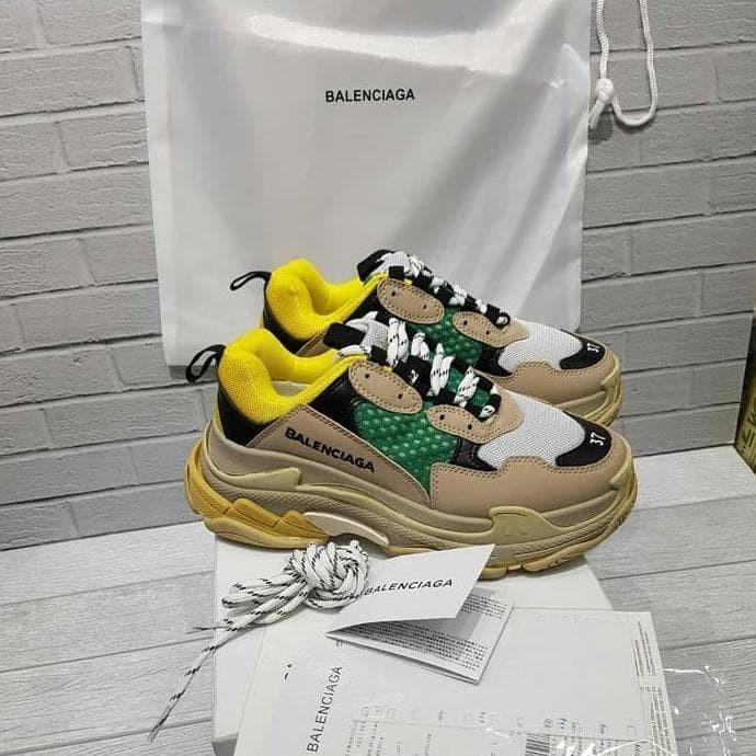 Jual Sepatu Balenciaga Triple S Yellow Green Unauthorized Original