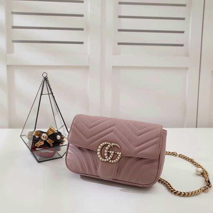 2a5c43af146d Jual ORI Gucci GG marmont waist bag original leather 23cm Rp 2.850 ...
