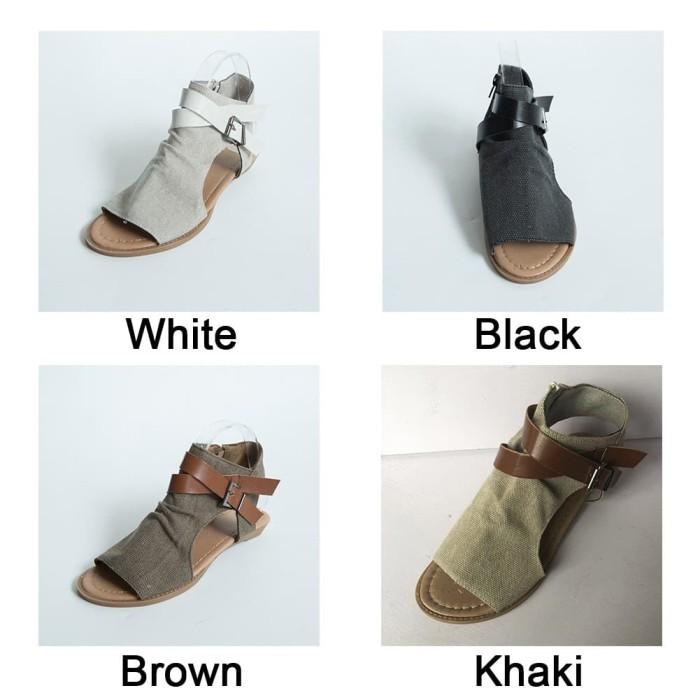 9292fdddb967 Jual Sepatu Sandal Gladiator Roma Casual Flat Peep Toe untuk Pantai ...