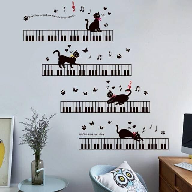 jual wall sticker dindinh melody piano musik note nada kucing cat