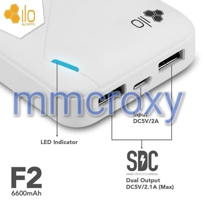 Kerennn Bah Hippo Powerbank Ilo F2 6600Mah - Garansi Resmi - Putih