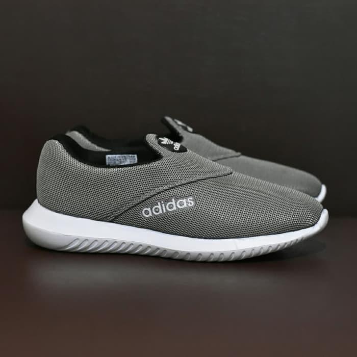 Jual Sepatu Sport Santai Adidas Slip On Slop Abu Abu Olahraga