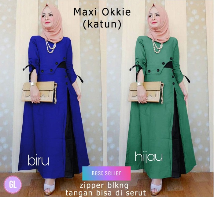 Atasan Wanita Muslim - Maxi Dress Okkie - Dzikri Moeslim Collection 8bebfc879d