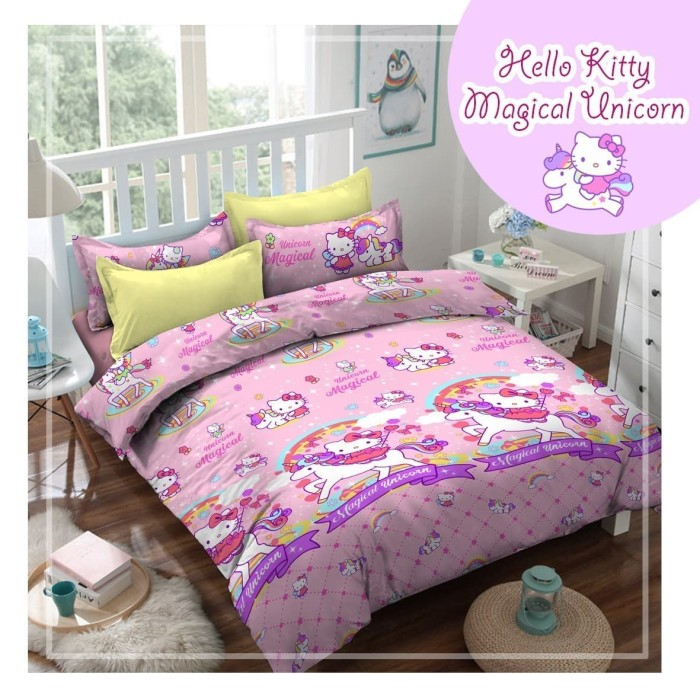 Jual Bedcover Set Katun Hello Kitty Magical Unicorn 120x200 Bed