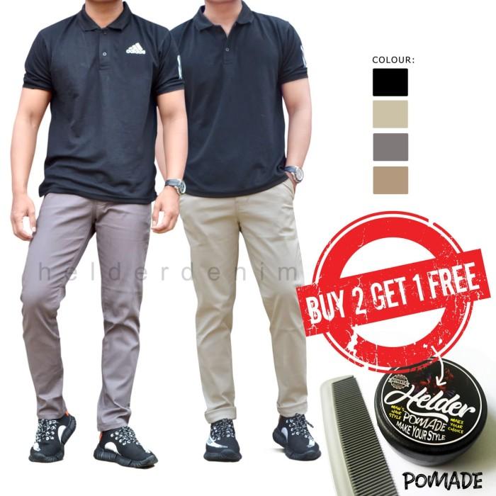 Celana Chino - Celana Panjang chino Pria Best Seller Gratis Pomade - Cream, XL