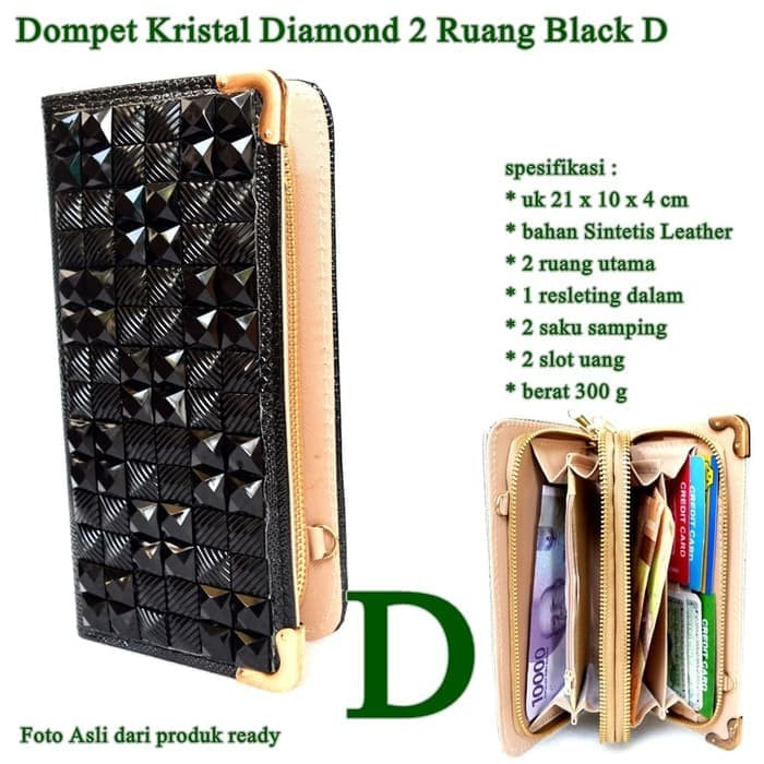Best Seller Obral Dompet Kristal Diamond  Ruang Black D