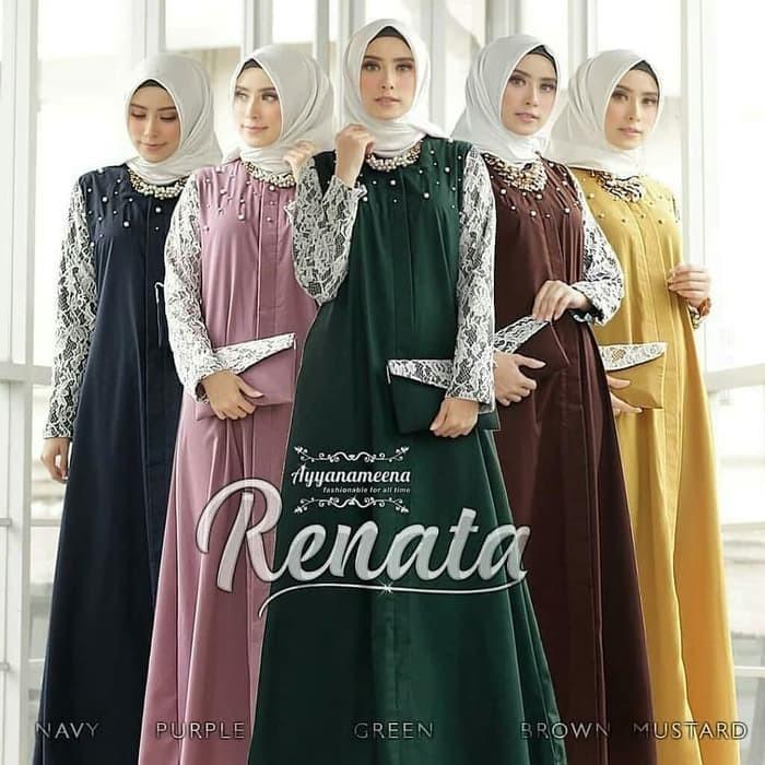 Baju Gamis Syari Wanita Busana Muslim Wanita renata brukat Termurah - Hijau 27bed19944
