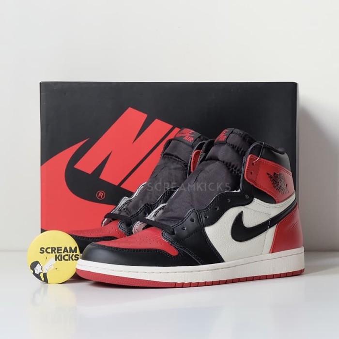 0673b34db5d032 Jual Nike Air Jordan 1 Retro High OG Bred Toe - Merah