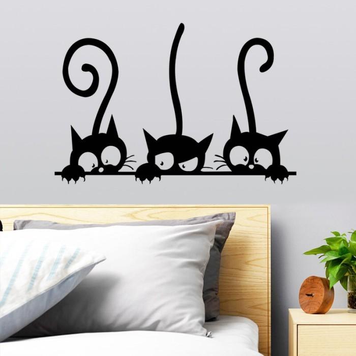 jual stiker dinding mural desain tiga kucing u dekorasi rumah long