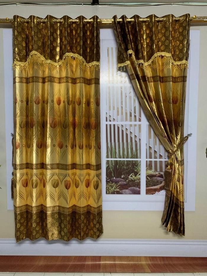 Jual Ready gorden blackout motif minimalis warna kuning emas ginna
