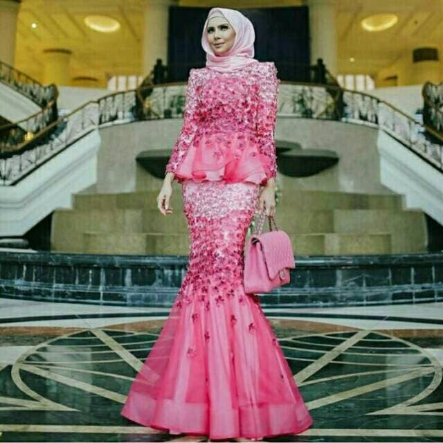 Jual Baju Pesta Organza 3d Full Bunga Pink Wanita Muslim Termewah Kota Malang Prillysandira Tokopedia