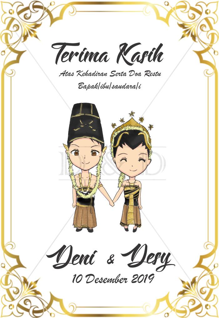Jual Custom Kartu Ucapan Pernikahan (Vintage Gold) 6X4 CM ...