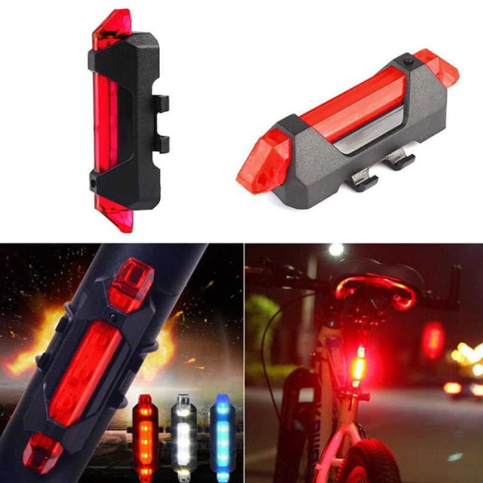 Foto Produk Lampu Belakang Sepeda LED Tail Light Rechargeable Micro USB BS-216 - Biru dari lbagstore