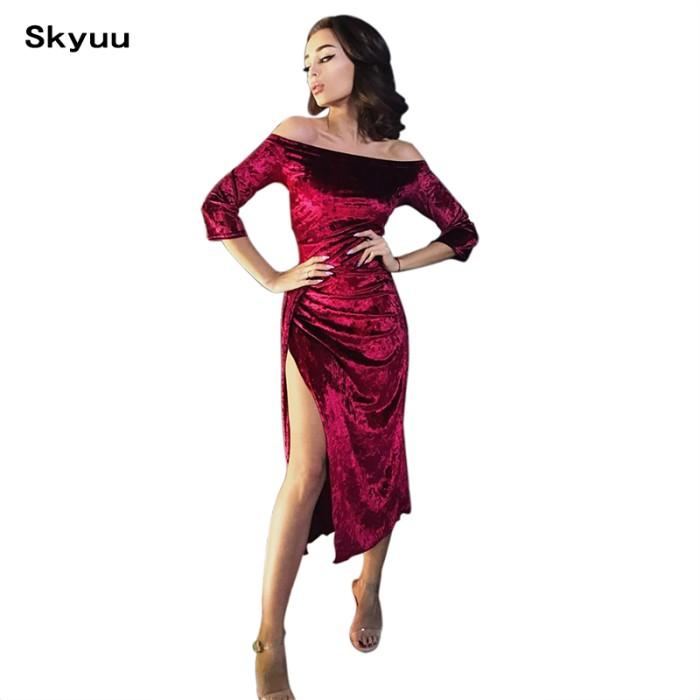 Jual Dress Wanita Promo Skyuu Merah Gaun Pesta Musim Dingin 2019