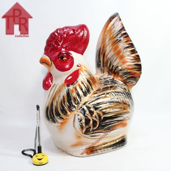 Foto Produk Celengan ayam jago tradisional orange gold - M dari Toko Pernik Rumah
