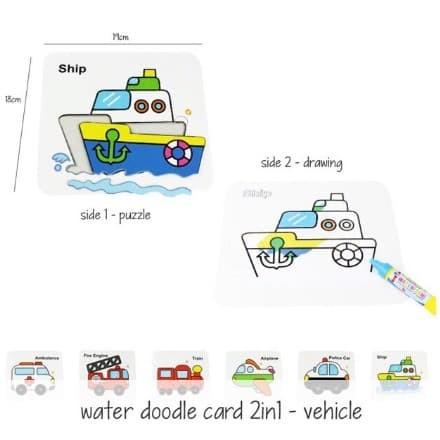 Jual Water Doodle 2in1 Tema Hewan Atau Kendaraan Puzzle Mewarnai