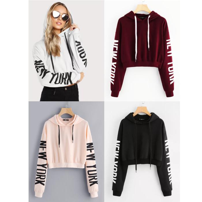 FASHION Sweater Wanita Crop New York - peach