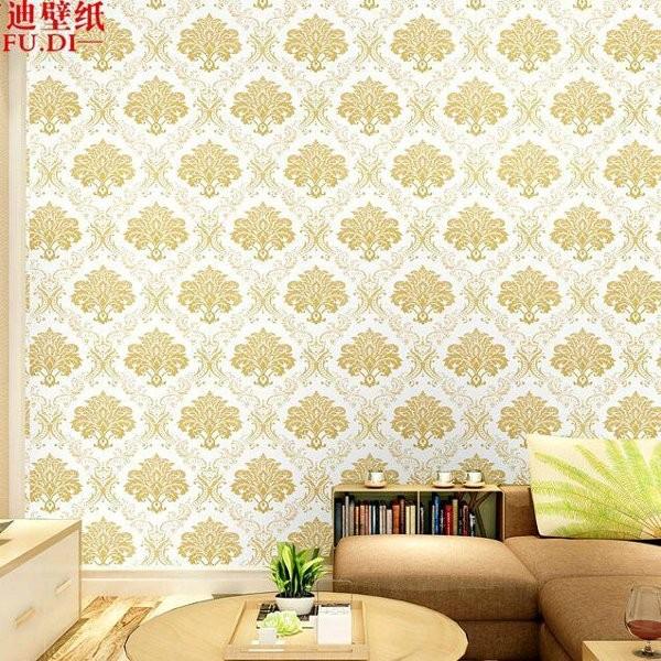 WALLPAPER MURAH BERKUALITAS wallpaper dinding motif batik gold