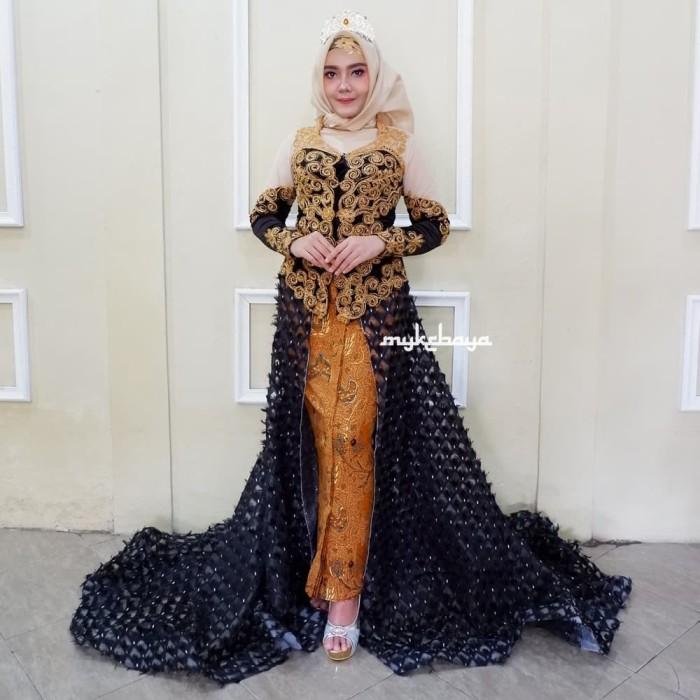 Jual Sepasang Kebaya Pengantin Pernikahan Ekor Mata Dewa Hitam Gold Modern Kota Surakarta Rumah Kebayaku Tokopedia
