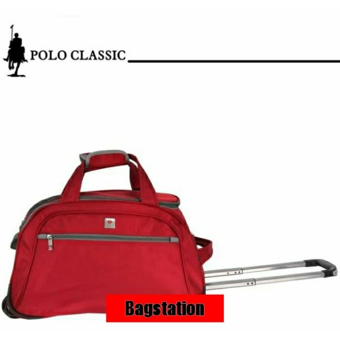 TAS CABIN KOPER TRAVEL BAG TROLLEY TROLY POLO CLASSIC RODA ORIGINAL - Hitam b49be40cd1b02