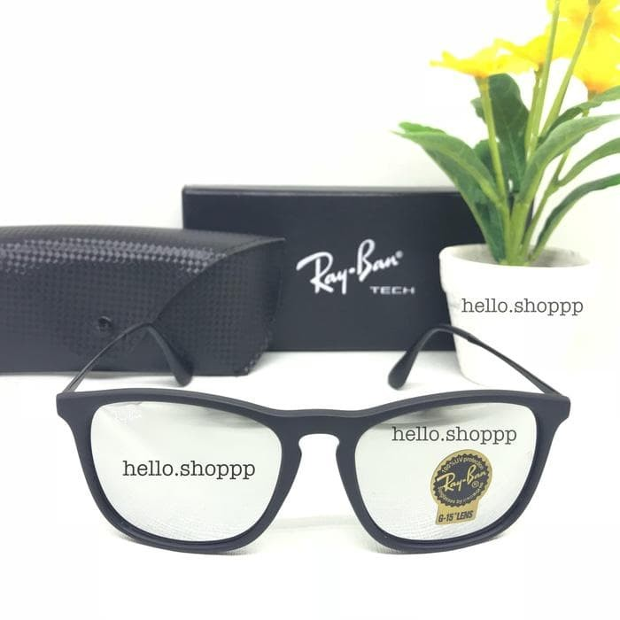 Jual Kacamata Gaya Pria RB Chris Black Doff Lensa Kaca Silver Mirror ... 89a747b46b