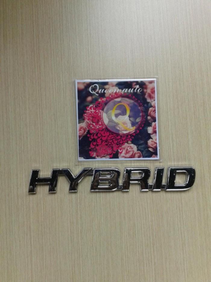 Emblem Tulisan Hybrid Chrome Original