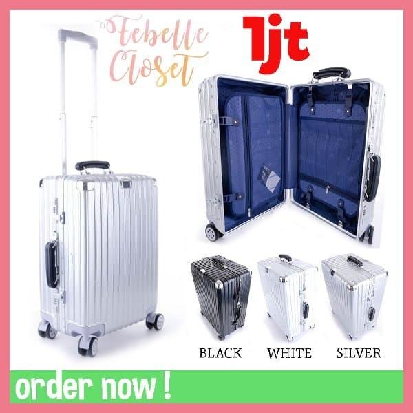 Tas Koper Travel Murah Suitcase Import Aluminium Putih Hitam Silver 20