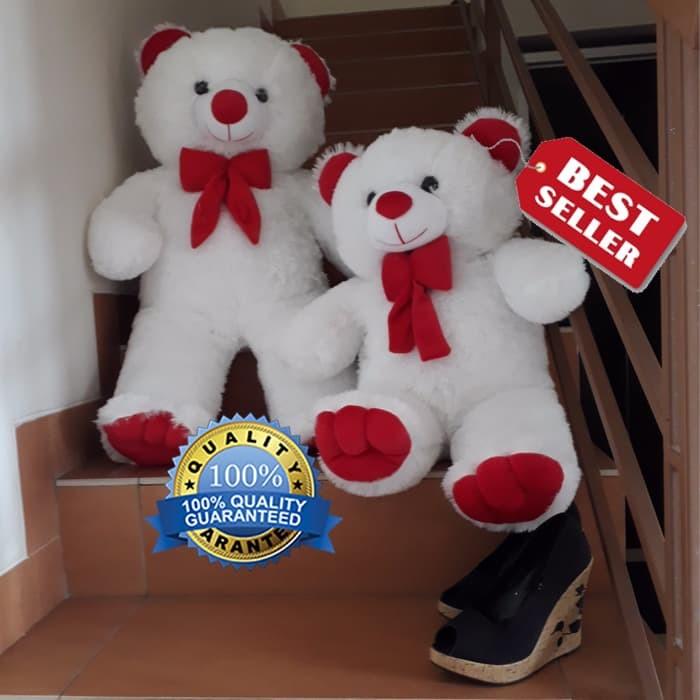 Jual Termurah Boneka Beruang Teddy Bear Putih Merah 75cm Kualitas ... c5ea96381e