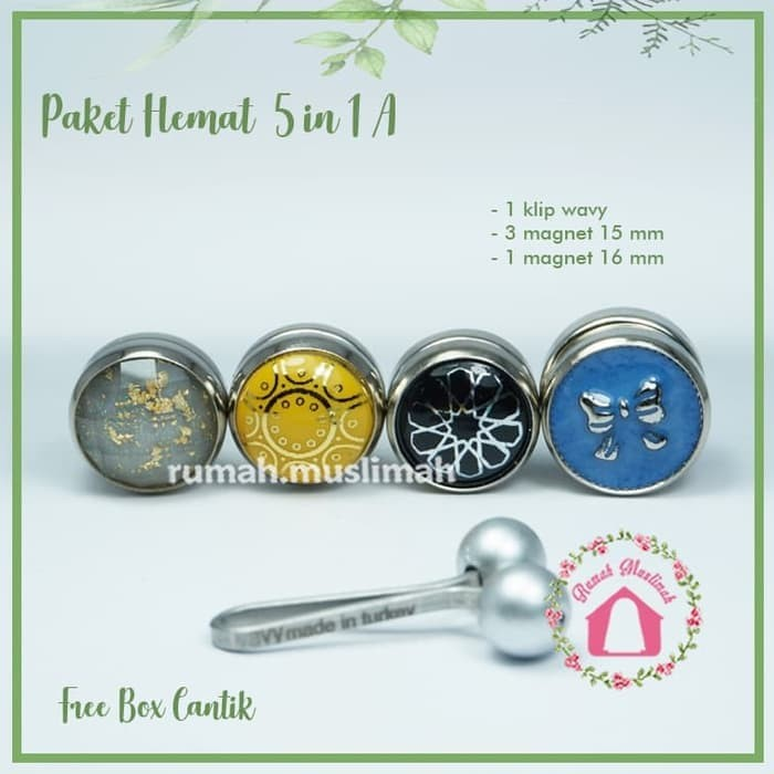 new Paket hemat 5 in 1(A) turkish hijab clip pin magnetic brooch