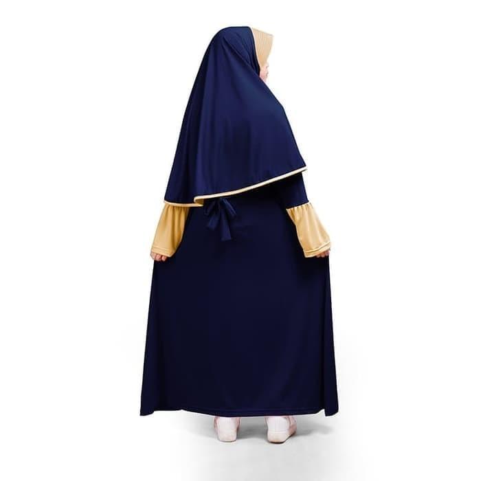 BAJUYULI - Baju Muslim Gamis Anak Perempuan Jersey Murah - Navy AJN01