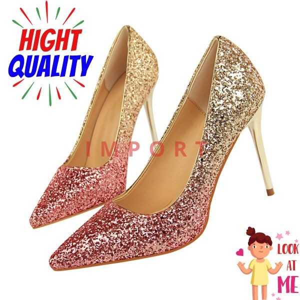 7b20667996 Jual [PROMO BULAN INI] 2018 Wanita 9 Cm High Heels Seksi Glitter Terang -  Kab. Banyumas - Bagandi Store   Tokopedia