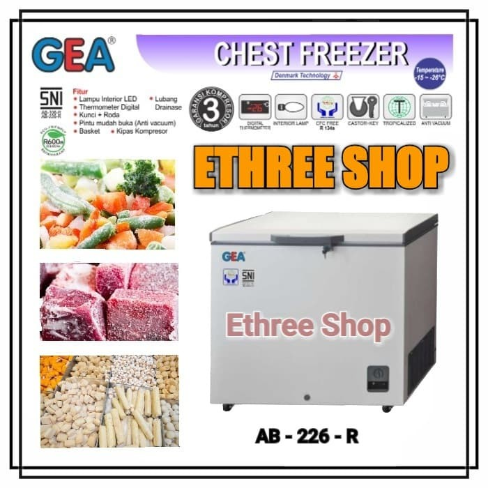Gea chest freezer ab226 / lemari pembeku nugget ikan sosis