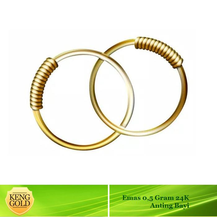 Keng gold - anting emas bayi 24 k - 0.5 gram