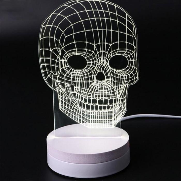 Lampu 3D LED Transparan Design Tengkorak Putih