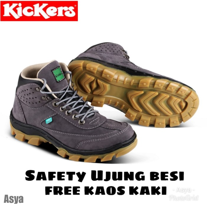 9aa3edaa9f1 SEPATU GUNUNG KICKERS PROYEK SAFETY BOOTS TREKING KULIT FREE KAOS KAKI
