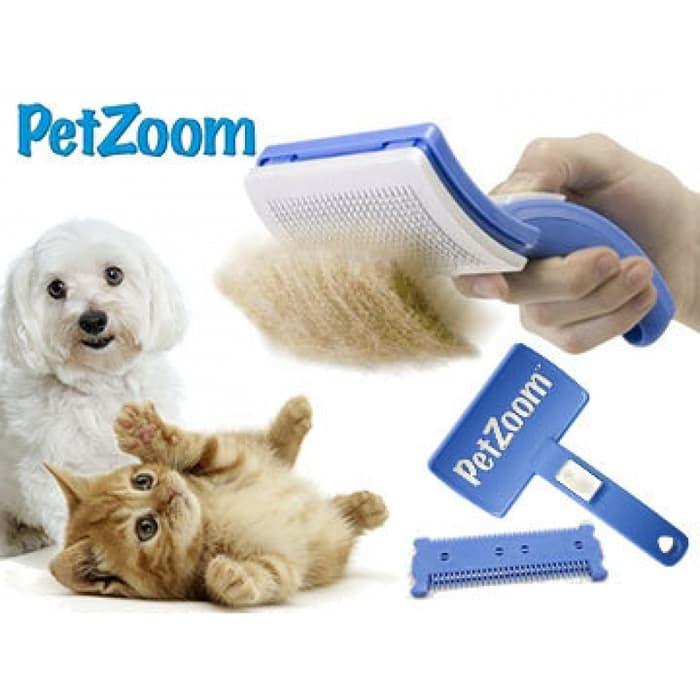 Pet Zoom Self Cleaning Grooming Brush Sisir Hewan Kucing Anjing Import 9e7f861ae3