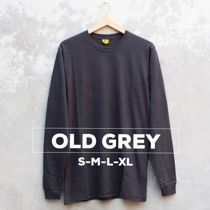 Kaos Baju Polos Tangan Panjang Pria Wanita Cewe Cowo Old Grey