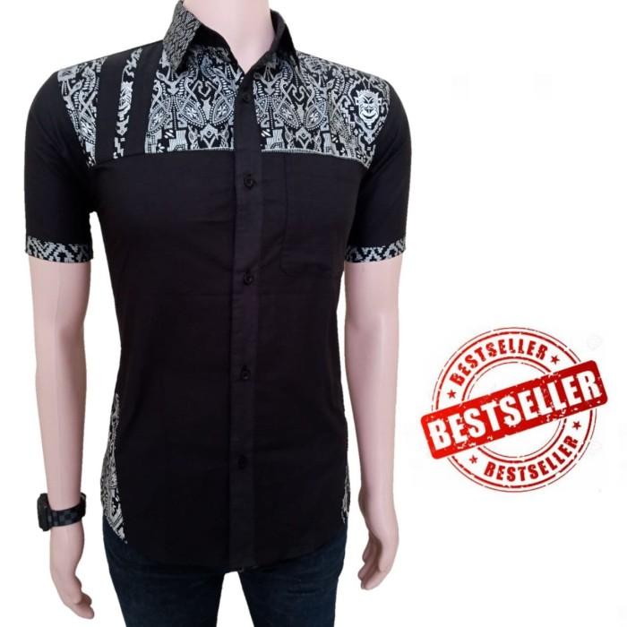 Jual Baju Kemeja Batik Pria Kombinasi Bahan Polos Hitam Xl Kota Pekalongan Jacob Art Tokopedia