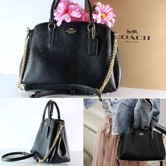 Tas coach mini sage carryall black leather gold hardware original