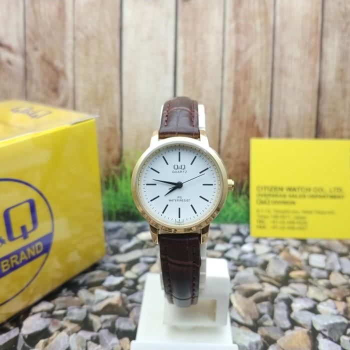harga Q&q qq analog jam tangan wanita strap cokelat kulit c155j111y original Tokopedia.com