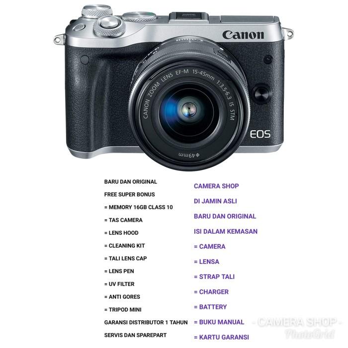 harga Canon eos m6 kit 15-45mm is stm silver (paket komplit) Tokopedia.com