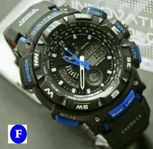 Jam Tangan Pria Digitec Original 2044T Dualtime hitam biru