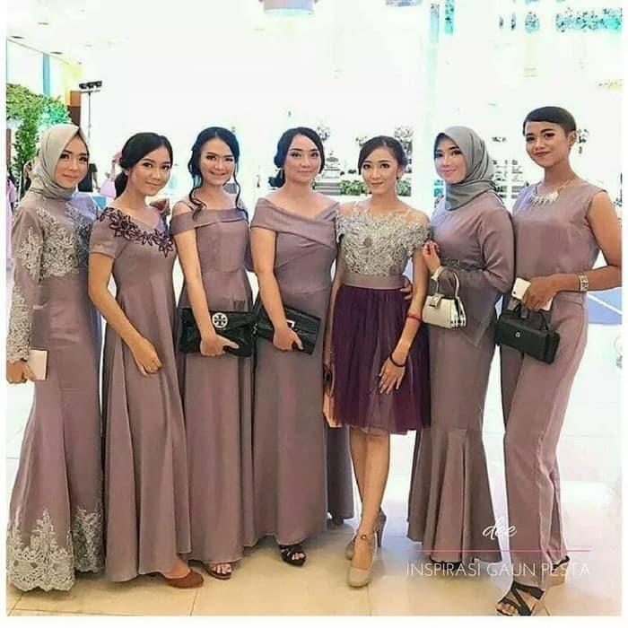 Jual Jahit Butik Gaun Pesta Muslim Baju Gamis Long Dress The