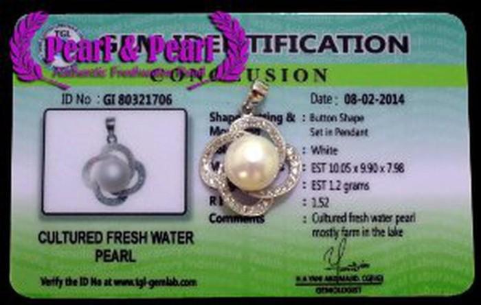 Promo Liontin Mutiara Asli Perak Emas Putih WGP 086