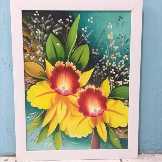 jual lukisan kanvas bunga melati termurah kab boyolali
