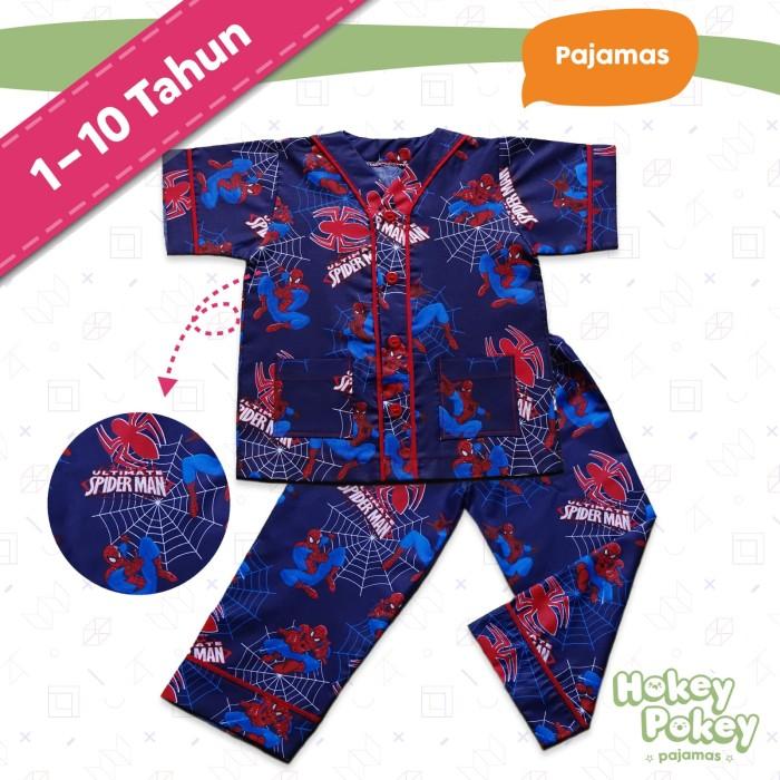 Setelan Baju Tidur Piyama Anak Laki Laki Tanpa Kerah Motif Spiderman - Size  5 600a1ece4d
